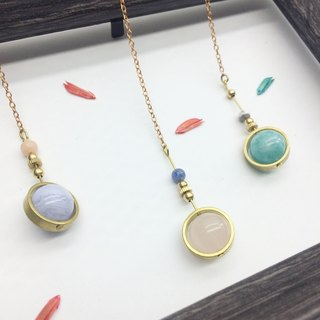 Laolin Grocery Travelin-Good luck Series Natural Stone Brass Long Chain Tianhe Stone / White Turquoise
