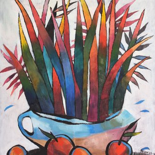 Decorative Flowers Still Life - original painting, wall art