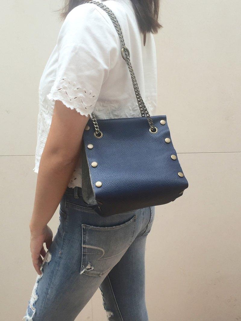 原創 小方形皮革 布包-藍色套裝-多款圖案自由配搭隨時替換