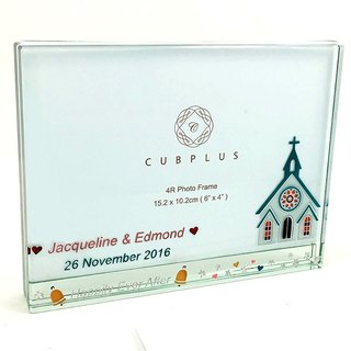4R Crystal Glass Photo Frame - Church ( including engraved names & date )