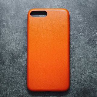 Solid color minimalist leather iPhone case - bright orange