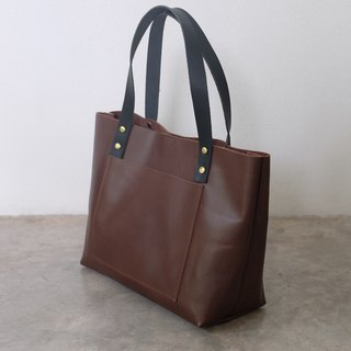 Small Leather Dark Brown Tote Bag