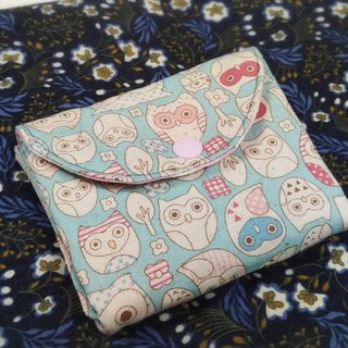 Pink Blue Owl double wallet purse card package storage package
