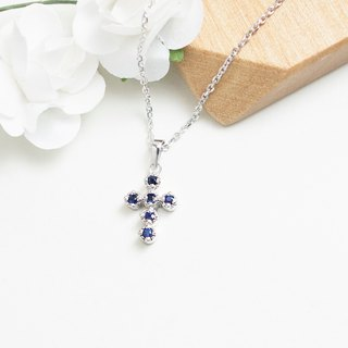 Natural sapphire cross necklace hand made sterling silver silver925 cross
