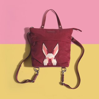 Khieng Atelier after Diamond Diamond Rabbit Rabbit sketch backpack - red maple leaf