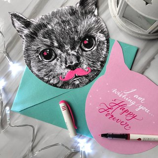 adc | Animal Party | English Calligraphy | Universal Card | Christmas Card | Greeting Card | Cat