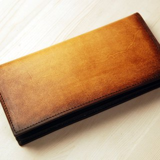 [Father's Day] [smudged series] [planted leather] yellow brown leather long clip