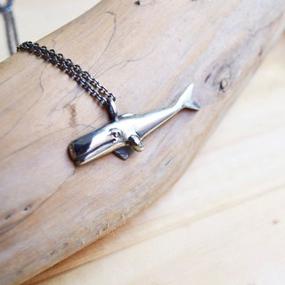 Sperm whales trying to move forward. silver necklace