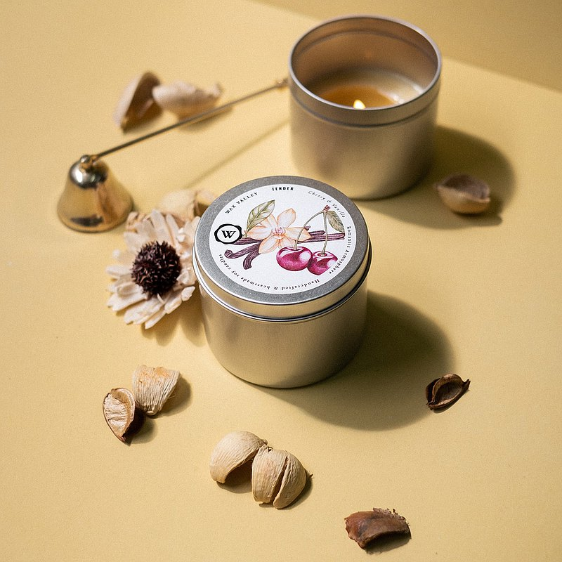 Soy Candle Tender Blend Portable Tin - Cherry & Vanilla