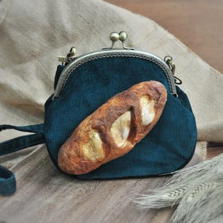[For Handmade Wool Felt] Baguette Bread Decoration Large Gold Pack - Green - Attached to the same color strap or metal back chain