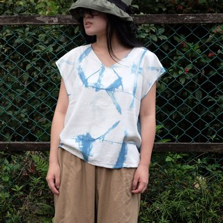 Blue dyed Japanese style short board V-neck sweater Lingge pattern handmade custom shirt