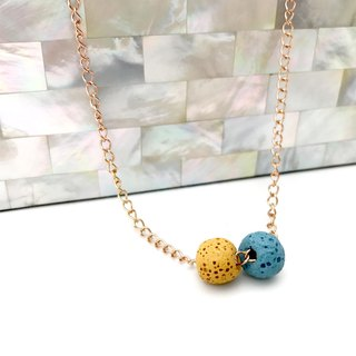 Double-Bead Aroma Rock Diffuser Necklace - Titanium Steel - Rose Gold