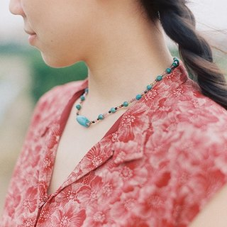 """Breath"" KOAN turquoise bead necklace pendants tourmaline"