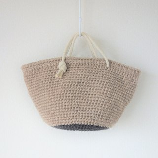 Wool tote bag, handbag, brown