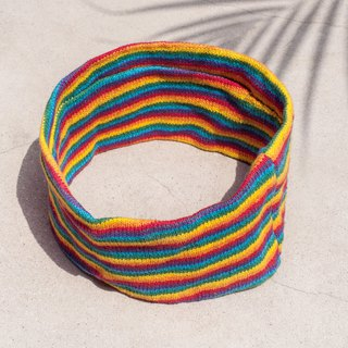Hand-knitted hair band / woven colorful hair band / handmade hair band / knitted hair band / striped hair band - colorful rainbow