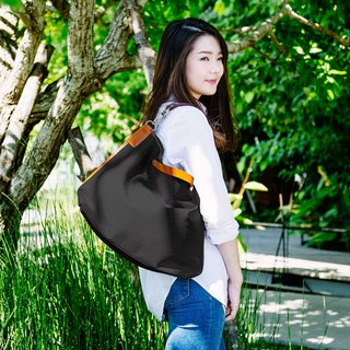 || three with water repellent canvas bag || ink black