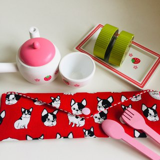 Wen Qingfeng environmental chopsticks bag bulldog red hand made tableware bag. Exchange gifts.