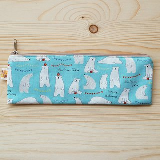 Apple polar bear zipper wide chopsticks bag _ blue