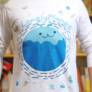 [Lonely Planet] cotton long-sleeved T-shirt - space travel - white