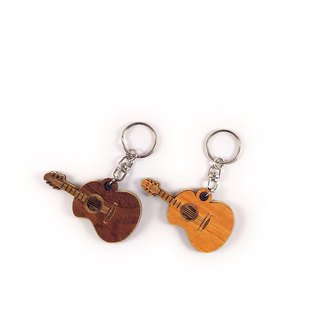 Woodcarving key ring - acoustic guitar