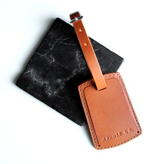 Customized - Handmade personalized luggage tag vegetable tanned leather