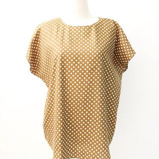 Vintage Japanese Dotted Loose Olive Short Sleeve Vintage Shirt Vintage Blouse