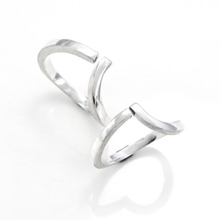 Embrace Power Line 925 Silver Ring (One Pair) - 64DESIGN
