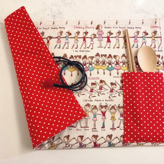 Handmade rope placemat - ballet - with tableware storage bag