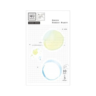 [MU Watercolor Translucent Sticky Note] Chap.08 Green Forest Party | Stacking collage decoration