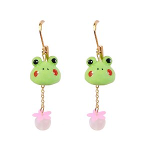 The original frog takes your frog to travel 18K gold plated earrings.