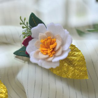 Snowy gold leaf rose hairpin