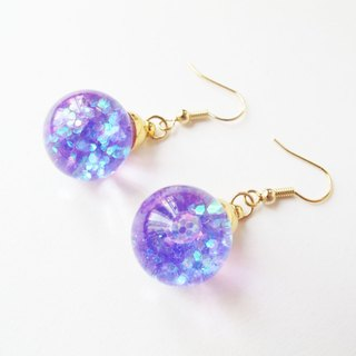 Rosy Garden Purple glitter water inside glass ball earrings