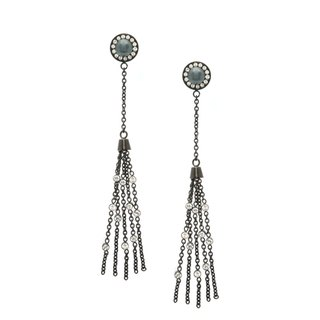 Shooting Star Earrings 316L Stainless Steel Black/Rose Gold plated Swarovski Crystals Freshwater Cultured Pearls L4E