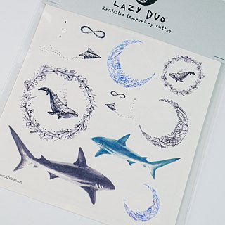 LAZY DUO Realistic Temporary Tattoo Sticker Ocean Night watercolor Fake Tattoos