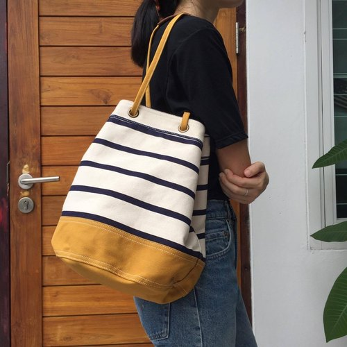 Mustard Stripe Canvas Bucket Bag w/ Strap Leather Handles