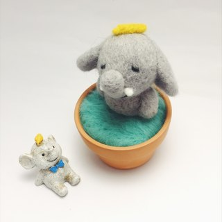 【Warm soup pottery】 wool felt animal soup pot - banana elephant