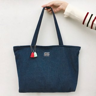 Simple dark blue denim denim large-capacity shoulder bag A4 double-layer cloth bag zipper large capacity