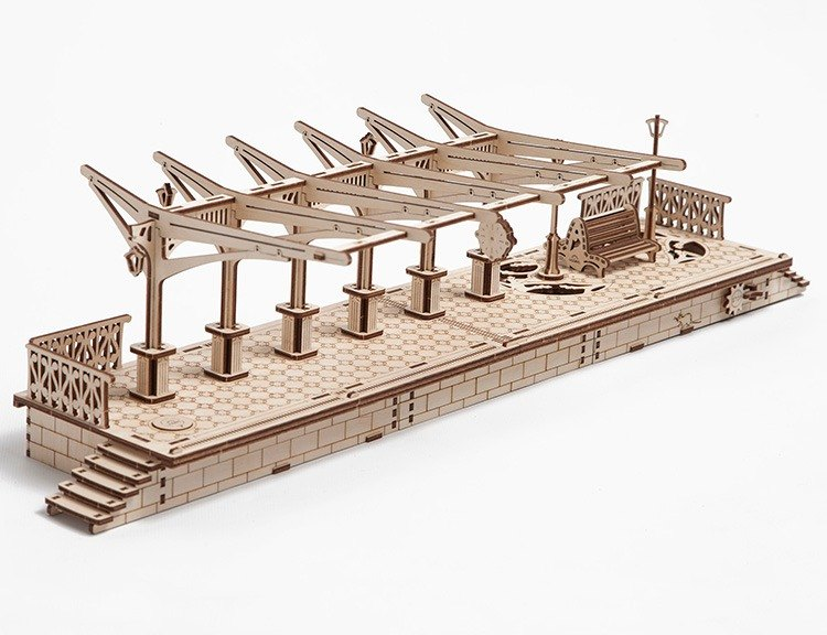 /Ugears/ Ukrainian wooden model station platform Railway platform