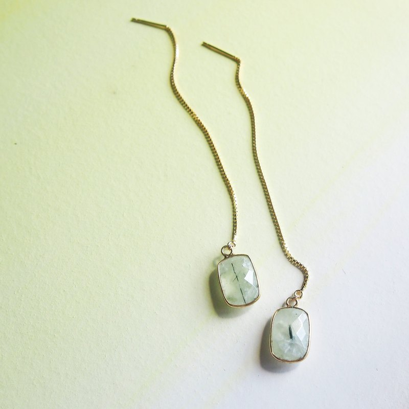 Dangle Prehnite Thread Earrings - 925 Silver | Plated with 18K Gold