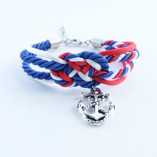 White/Red/Blue infinity knot rope bracelet with anchor charm