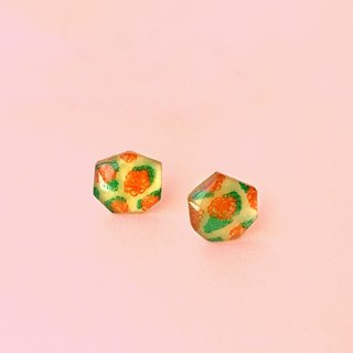 Orange Orange Green - Hand-made hand-painted earrings / hypoallergenic steel needle / can be changed clip