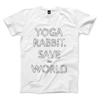YOGA RABBITS SAVE the WORLD - 白 - 中性版T恤