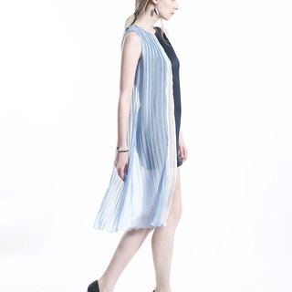 Modern Asymmetric Pleated Chiffon and Triacetate Dress