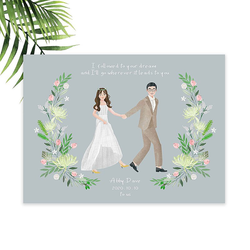 | Customized illustration | Newcomer (full body) wreath illustration design / Morandi color | Electronic file