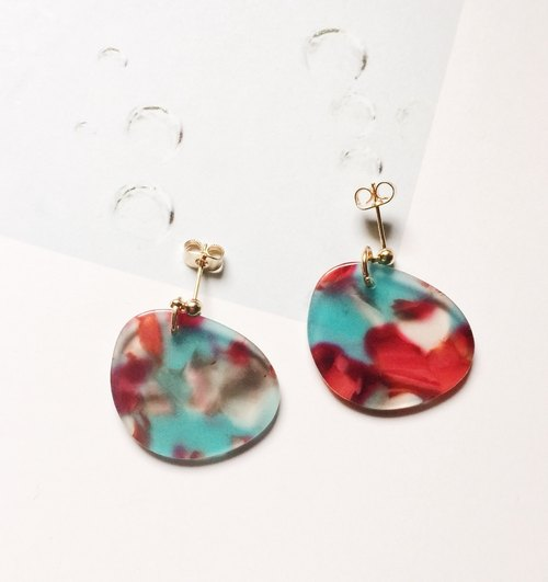 La Don - Earrings - Marbling Irregular - Red and Green Ear / Ear clip
