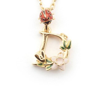 Flower English letter D necklace