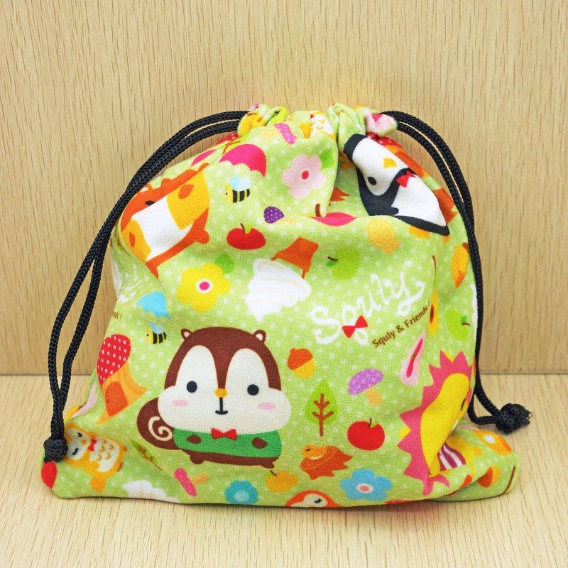 Squly & Friends 束口小袋 (森林圖案) | 小物包/束口袋/布袋