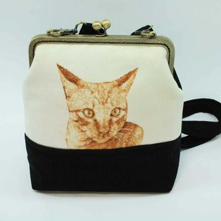Mo-type mouth gold embroidery 20cm oblique backpack 04-- cat