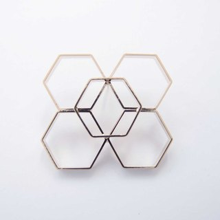 Geometric Landscape 24 Metal Brooch