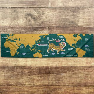Make World map making sports towel (Greenland Tigers screaming A)